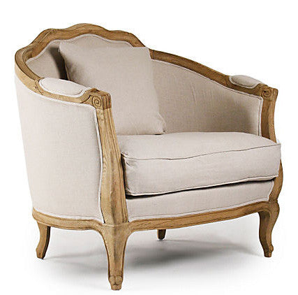 Furniture - Chateau French Lounge Chair - Natural Linen