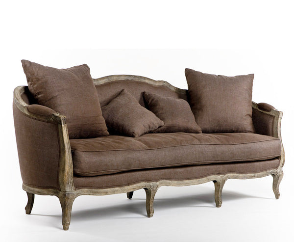 Furniture - Chateau French Style Sofa - Light Brown Linen