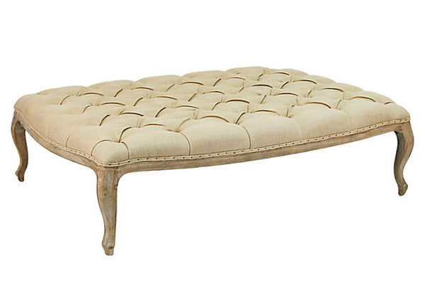 Furniture - Chateau Tufted Ottoman - Natural Linen