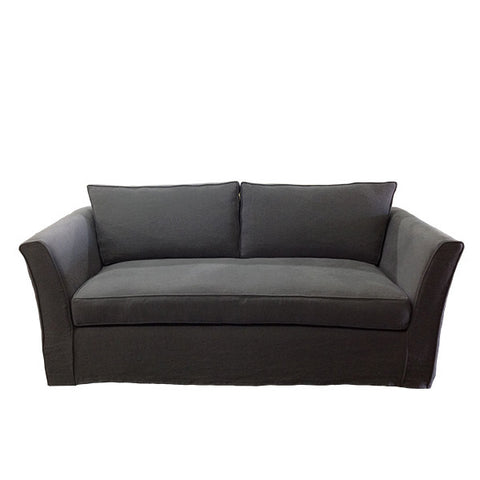 Furniture - Chelsea Slipcovered Flaired Arm Sofa -  Dark Grey Linen
