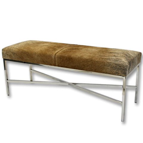 Furniture - Cow Hide & Chrome Bench