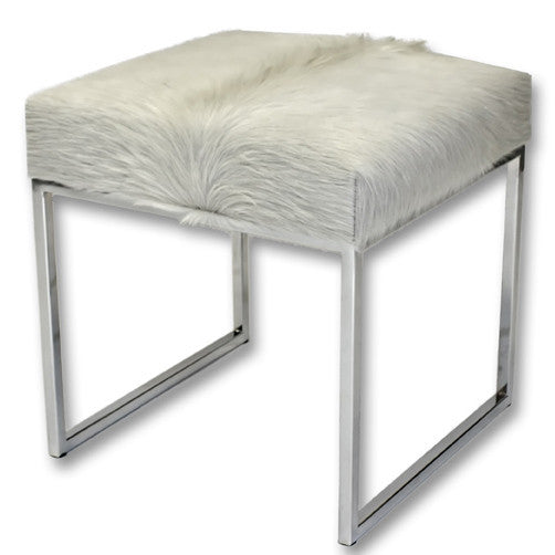 Furniture - Cowhide & Chrome Bench - White