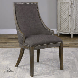 Furniture - Curved Accent Chair – Warm Grey