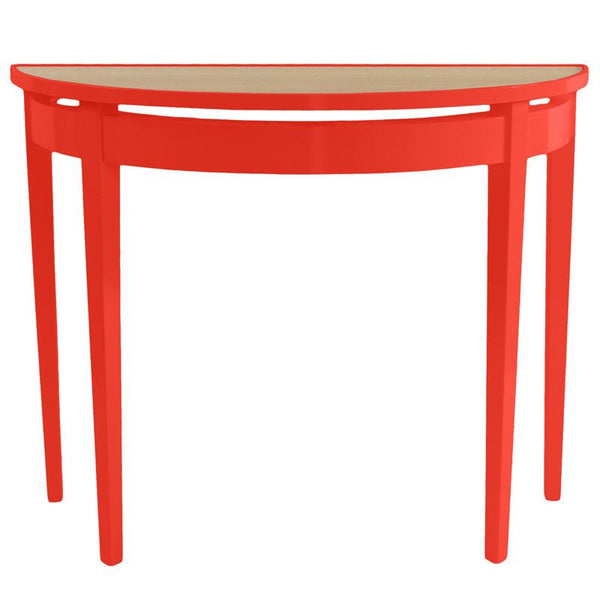 Furniture - Demilune Lacquer Console Table - Bright Red (16 Colors Available)