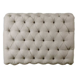 Diamond Tufted Ottoman - Natural Antique Linen