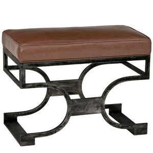 Furniture - Domingo Scrolled Leather Bench - Black Iron & Chocolate Brown (See More Finish & Fabric Options)