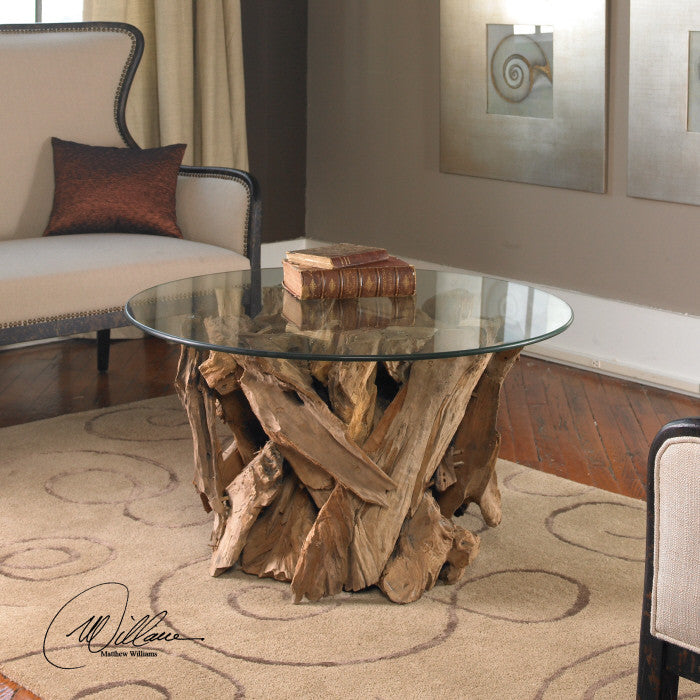 Driftwood Glass Top Coffee Table
