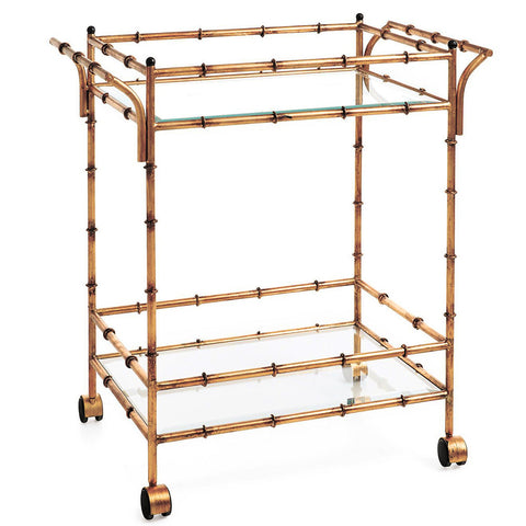 Furniture - Faux Bamboo Bar Cart – Antique Gold