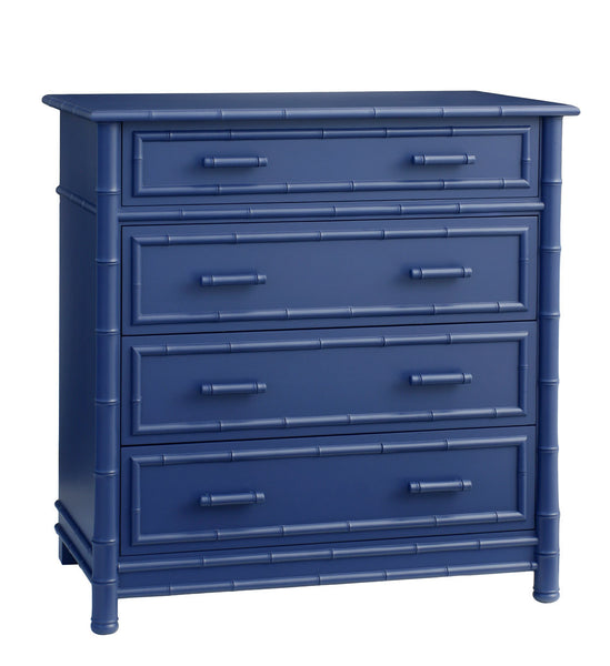 Furniture - Faux Bamboo Four Drawer Highboy Dresser - Blue ( 28 Finish Options )