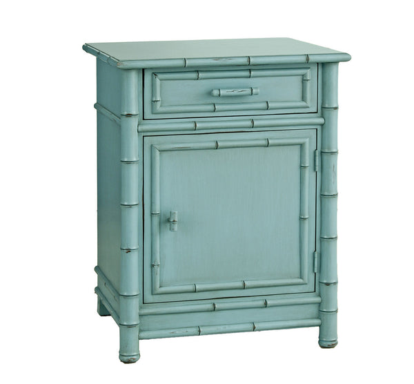 Furniture - Faux Bamboo One Drawer Nightstand - Robin's Egg Blue ( 28 Finish Options )