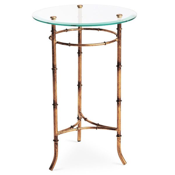 Faux Bamboo Round Side Table U2013 Antique Gold