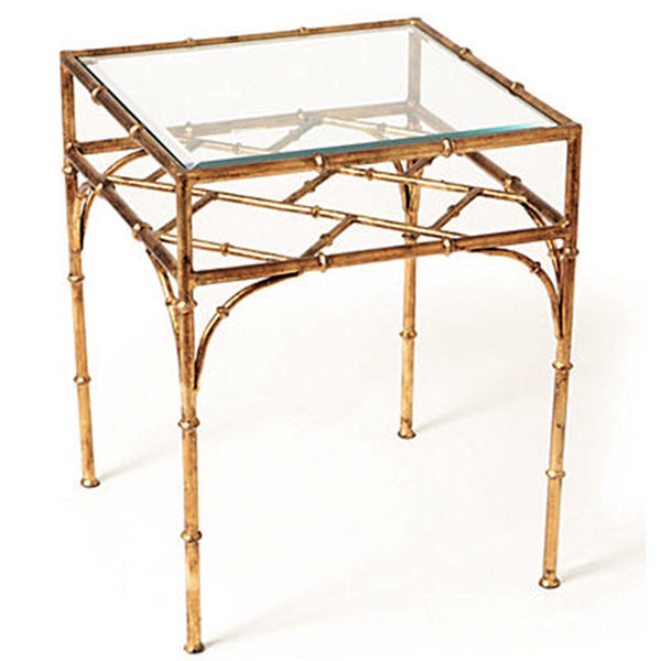 Faux Bamboo Square Side Table U2013 Antique Gold