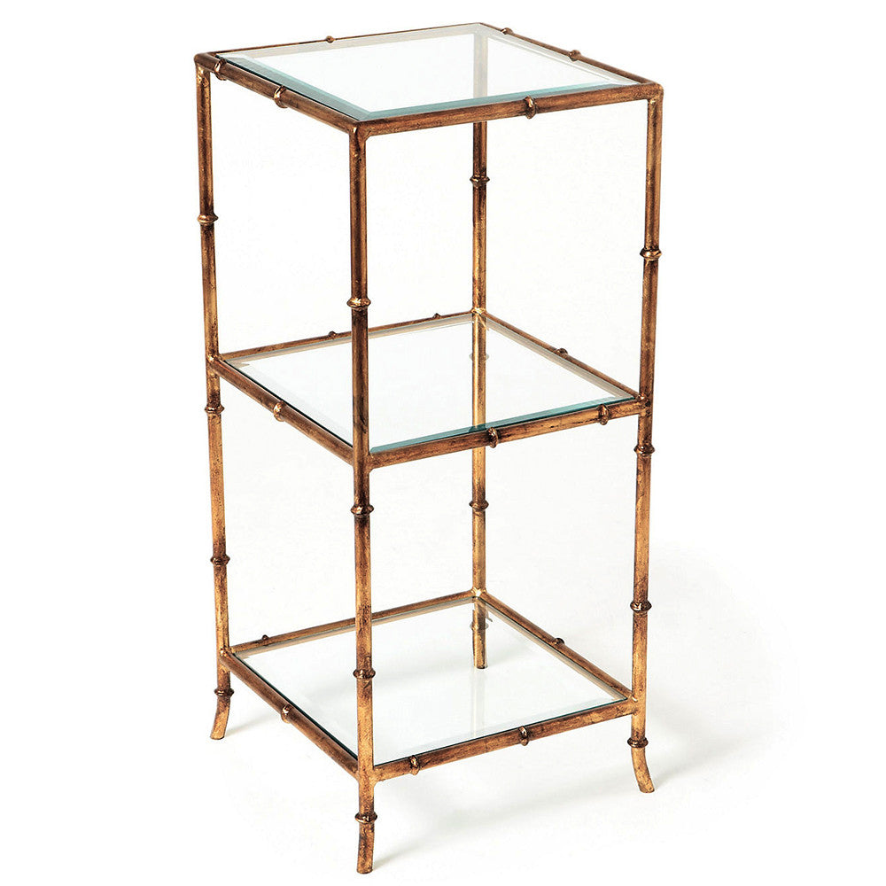 Furniture   Faux Bamboo Three Tier Side Table U2013 Antique Gold