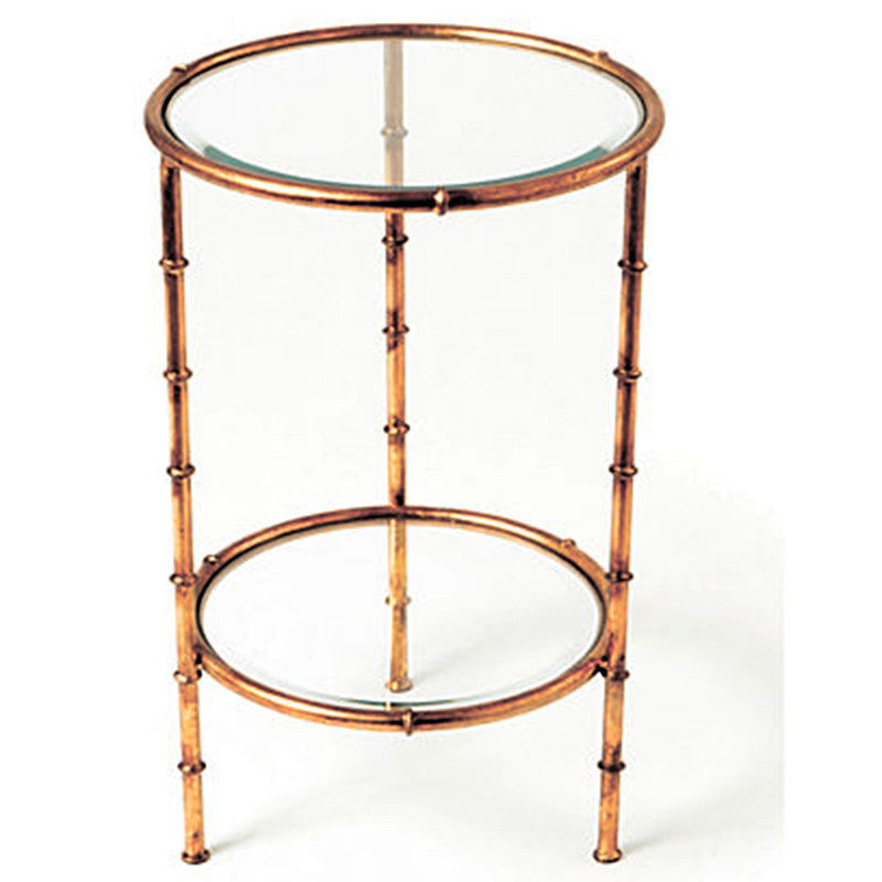Greatest Faux Bamboo Two Tier Round Side Table – Antique Gold | Scenario Home JV49