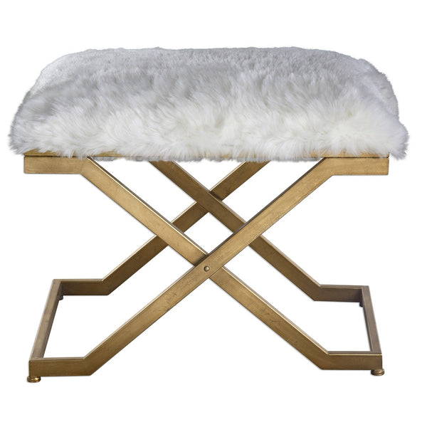 Furniture - Faux Fur X-Frame Bench