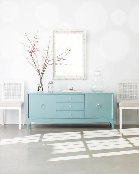 Furniture - Fiona 3 Drawer Entertainment Media Console - Robin's Egg Blue ( 28 Finish & 3 Hardware Options )