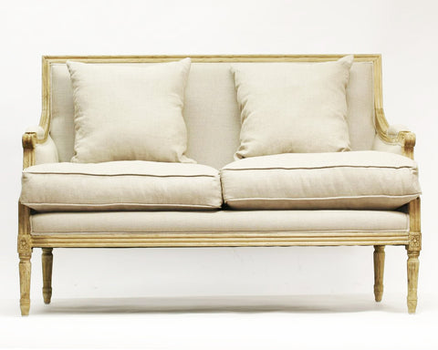 Furniture - French Settee - Natural Linen