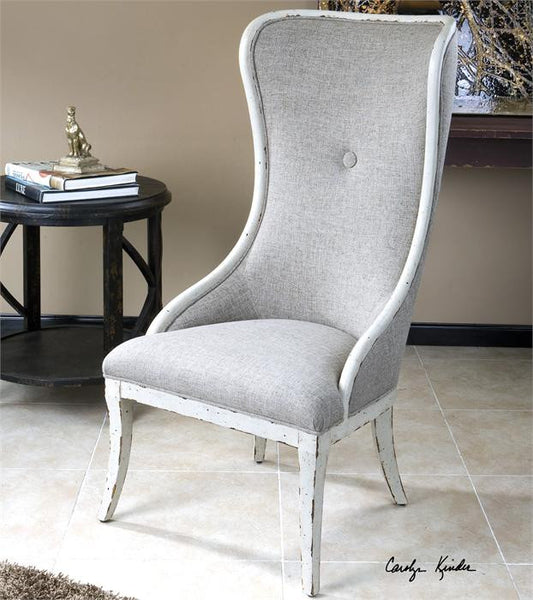 Furniture - High Back Wing Chair - Distressed White