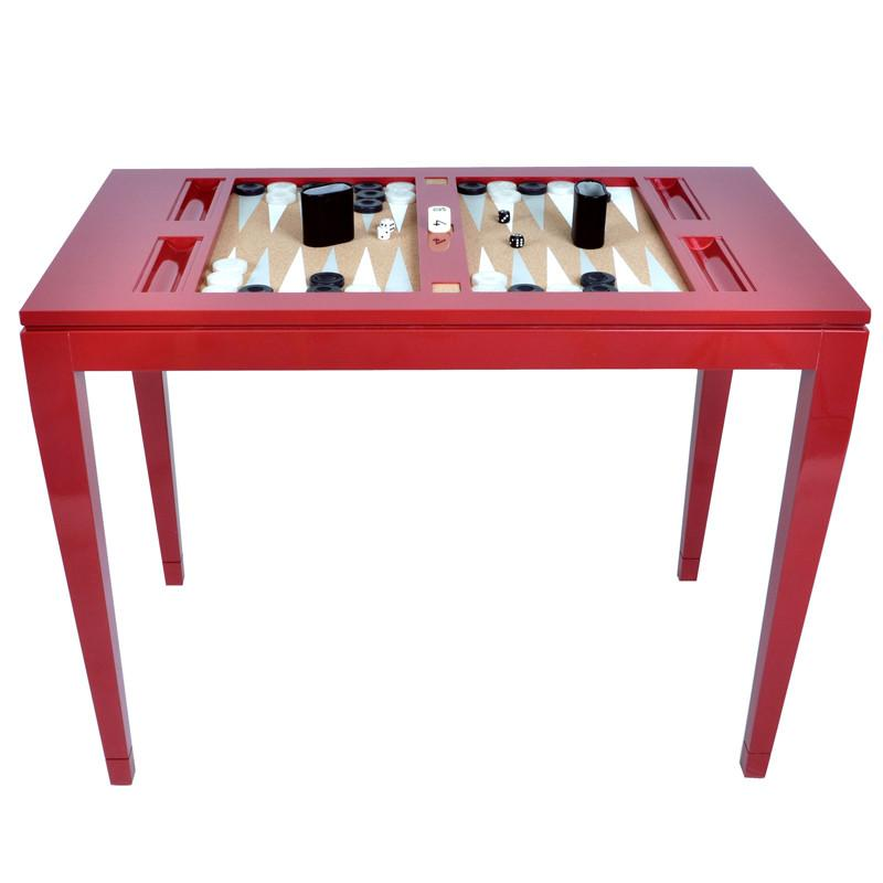 Furniture - Lacquer Backgammon Table - Bolero Red (16 Colors Available)