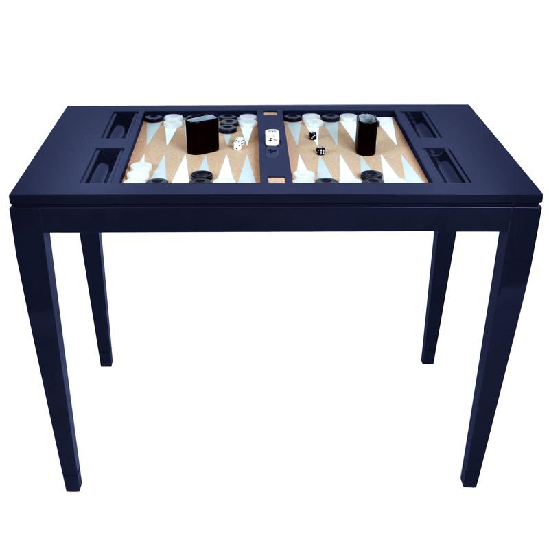Lacquer Backgammon Table - Navy (Additional Colors Available)