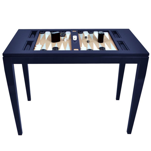 Furniture - Lacquer Backgammon Table - Navy Blue (16 Colors Available)