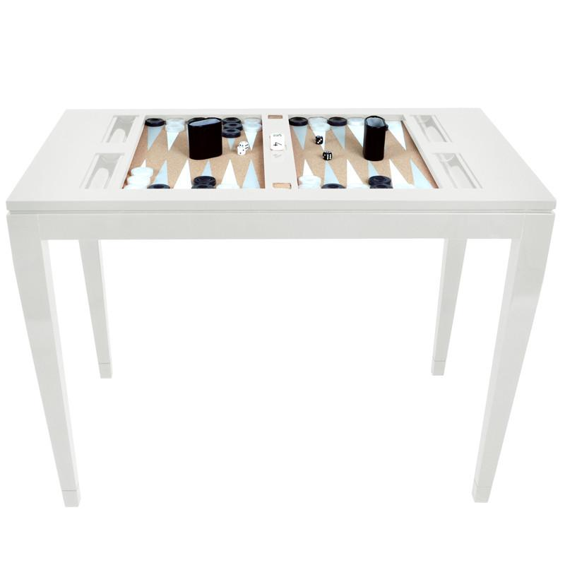 Superieur Furniture   Lacquer Backgammon Table   White (16 Colors Available)