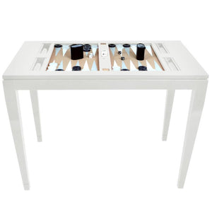 Lacquer Backgammon Table - White (Additional Colors Available)