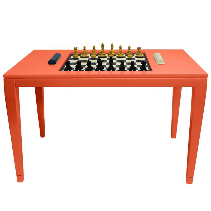 Lacquer Chess & Checkers Table - Orange (Additional Colors Available)