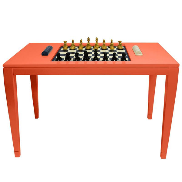 Furniture - Lacquer Chess & Checkers Table - Orange (16 Colors Available)