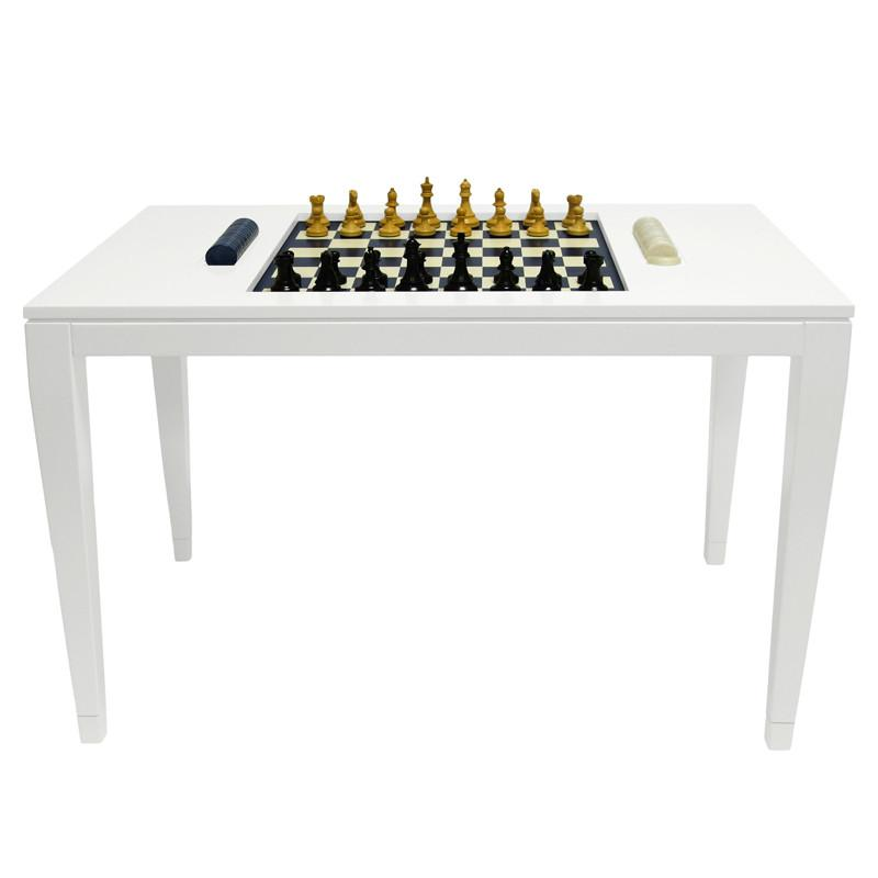 Lacquer Chess & Checkers Table - White (Additional Colors Available)