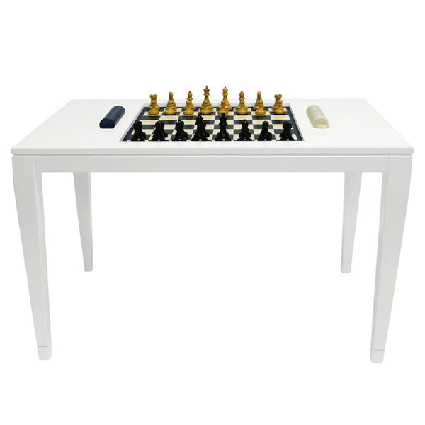 Furniture - Lacquer Chess & Checkers Table - White (16 Colors Available)