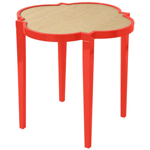 Furniture - Large Quatrefoil Lacquer Side Table - Bright Red (16 Colors Available)