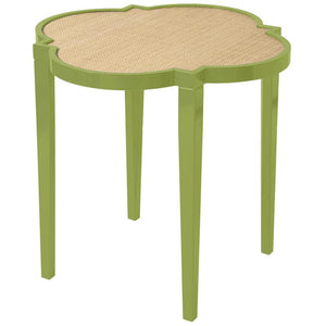 Furniture - Large Quatrefoil Lacquer Side Table - Lime Green (16 Colors Available)