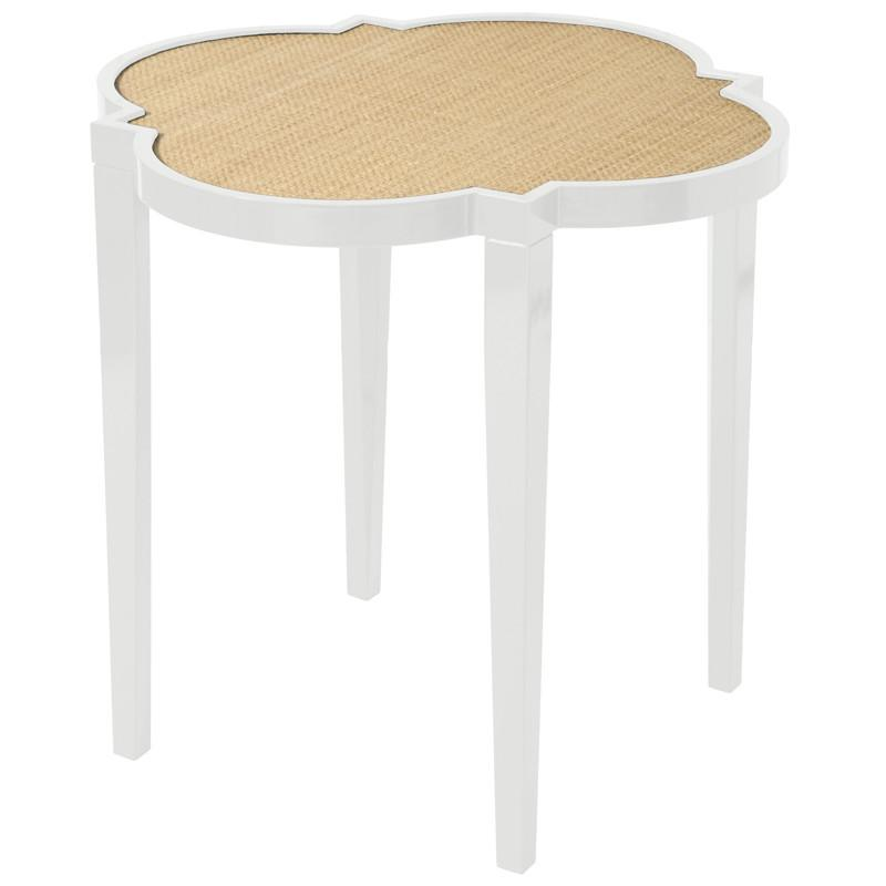 Furniture - Large Quatrefoil Lacquer Side Table - White (16 Colors Available)
