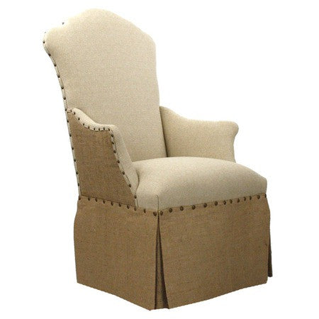 Furniture - Linen & Burlap End Chair With Nailhead Trim