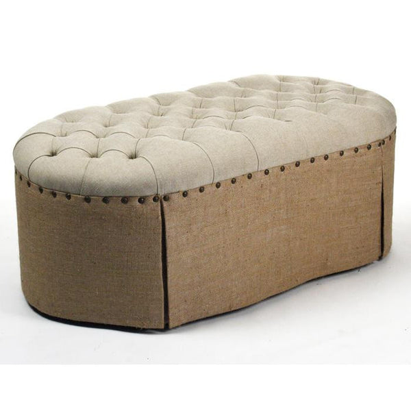 Furniture - Linen & Burlap Oval Tufted Ottoman With Nailhead Trim