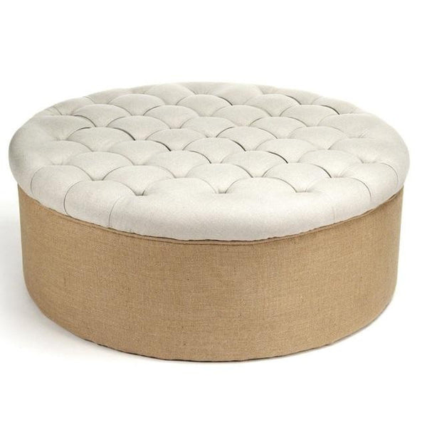 Furniture - Linen & Burlap Round Tufted Ottoman