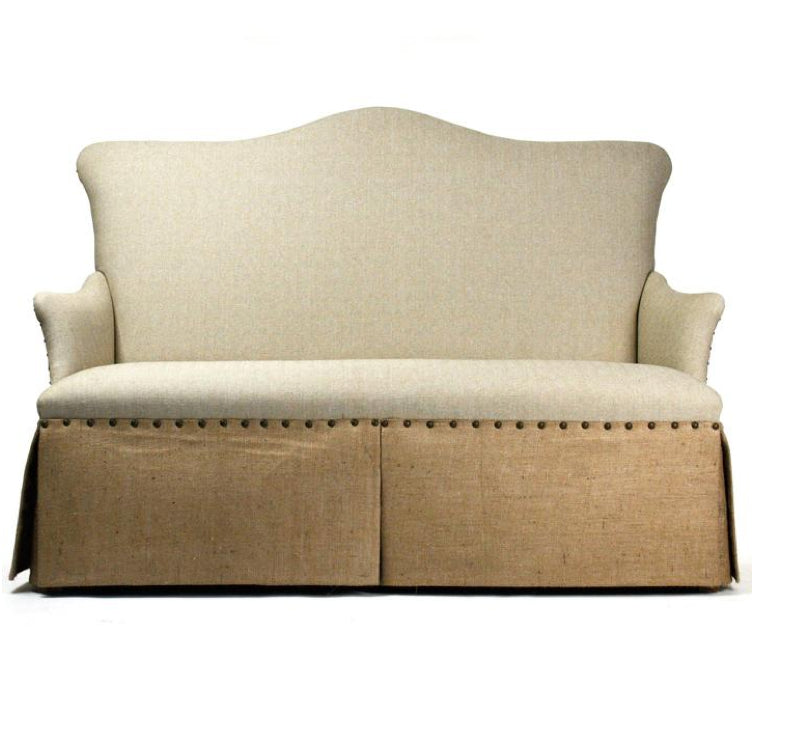 Linen & Burlap Skirted Sofa with Nailhead Trim | Scenario Home