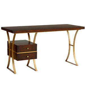 Furniture - Logan Two Drawer Modern Desk - Chestnut & Gold (28 Finish & 3 Base Options)