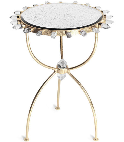 Furniture - Lola Quartz Side Table - Brass