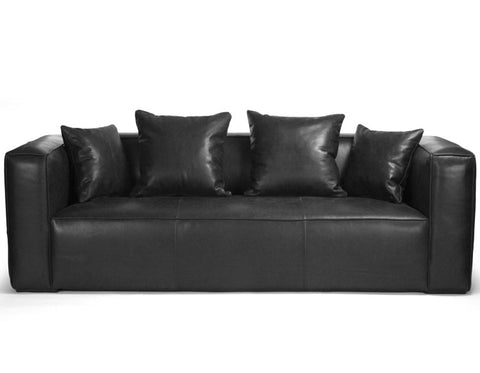 Furniture - Luxe Lounge Black Leather Sofa