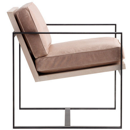Manhattan Modern Leather Amp Metal Arm Chair See More