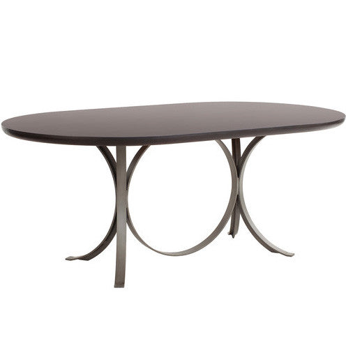 Furniture - Manhattan Modern Oval Dining Table - Cocoa Brown & Silver (28 Finish & 3 Base Options)
