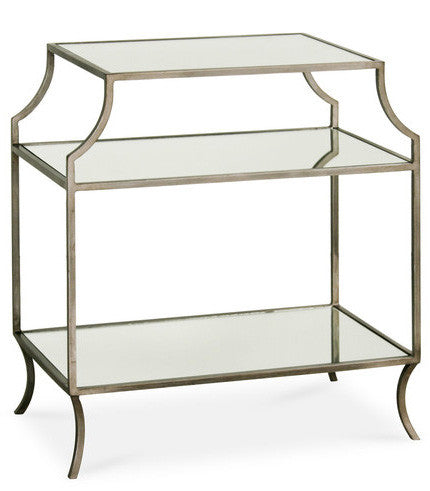 Furniture - Milla Antique Silver & Glass Side Table W/ Shelf - (See More Finishes)