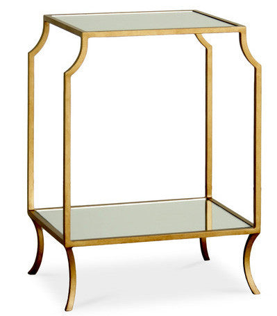 Furniture - Milla Mirrored Glass Side Table W/Shelf - Antique Gold (See More Finishes)