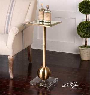 Furniture - Mirror Top Accent Table -Brass