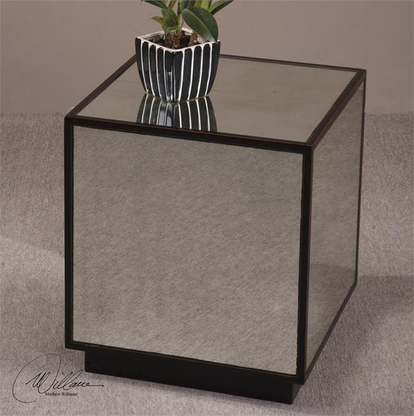 Furniture - Mirrored Cube End Table
