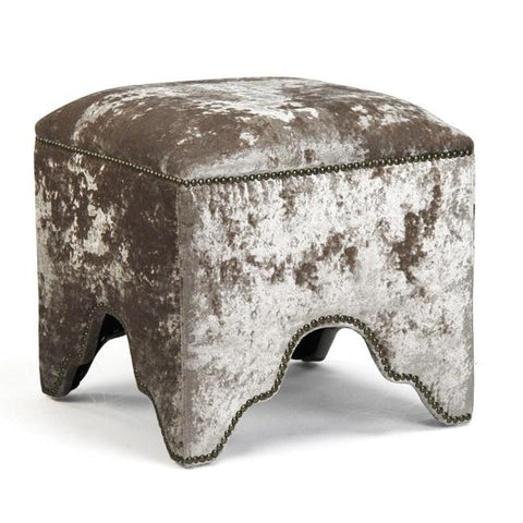 Furniture - Moroccan Velvet Nailhead Ottoman