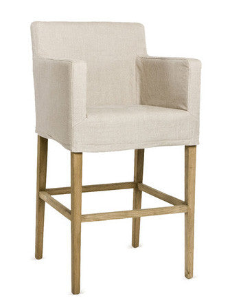 Furniture - Natural Linen Slipcovered Barstool