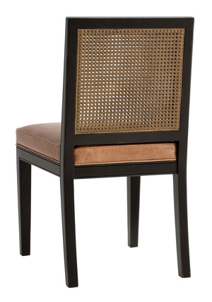Furniture - Oliver Side Chair - Black & Saddle (see More Finish & Fabric Options)